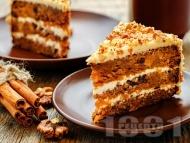 Рецепта Морковена торта с блат от моркови, ябълки и пълнозърнесто брашно и крем от маскарпоне и уиски